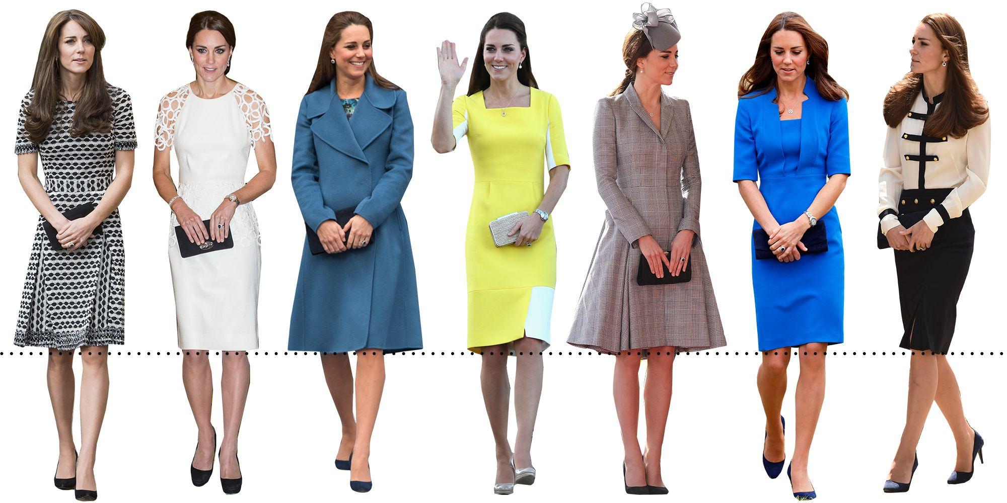 <p>Date un'occhiata agli outfit qui sopra: la lunghezza degli abiti, delle gonne o dei cappotti di Kate è la stessa, l'orlo arriva proprio sul ginocchio. È la lunghezza che più esalta il suo corpo.</p>