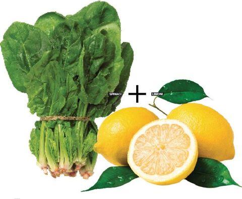 <p>Gli spinaci rafforzano il sistema immunitario, proteggono la vista e sono ricchi di ferro, un minerale che viene assimilato meglio grazie all'acido ascorbico del limone, agrume che, tra l'altro, contiene diverse sostanze dalle proprietà antiossidanti.</p>