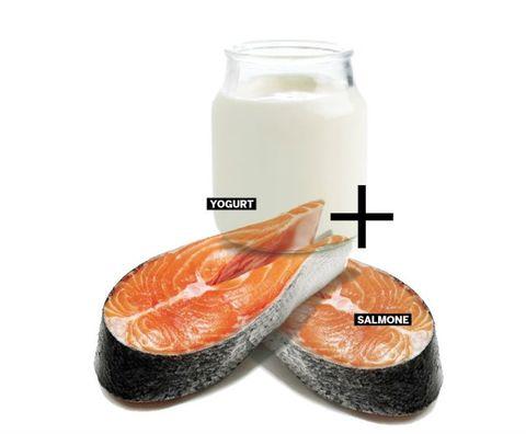<p>Uno yogurt apporta circa 100 mg di calcio, che mantiene le ossa forti, la vitamina D del salmone migliora l'assorbimento del minerale: la sinergia perfetta per proteggere l'apparato scheletrico e prevenire l'osteoporosi.</p>