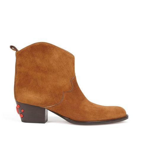 Stivaletti texani in camoscio color cammello e pietre rosse AQUAZZURA