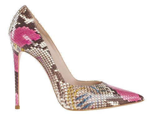 <p>Di rettile a più colori con tacco stiletto e punta sfilata, Le Silla.</p>