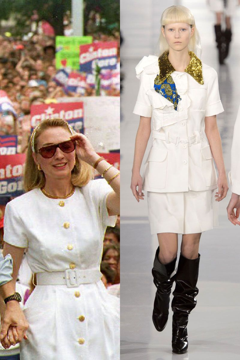 <p>Clinton never underestimates the power of a chic LWD, as she wore to a rally with President Bill Clinton in 1992. </p>