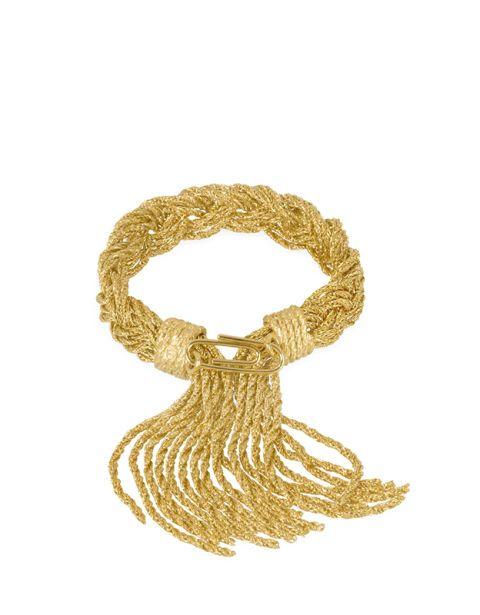 <p>Treccia gold sfilacciata, Aurelie Bidermann.</p>