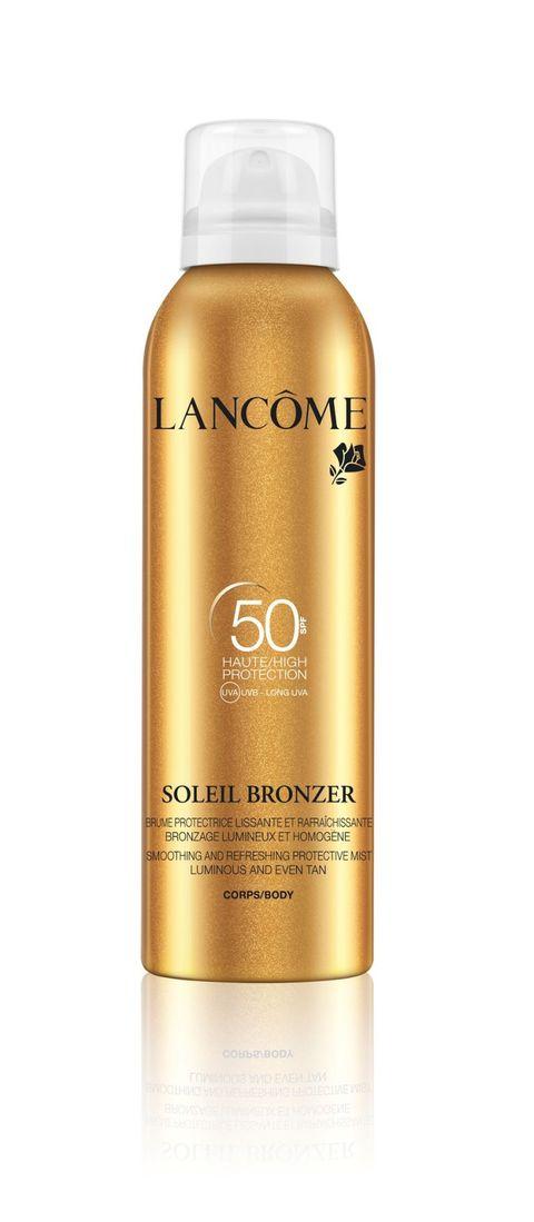<p>Soleil Bronzer SPF 50 Brume Corpo di Lancôme è una brume leggera e rinfrescante, facile da applicare grazie alla tecnologia Dry Touch. Delicatamente profumata, lascia la pelle satinata e protetta (30,30 euro).</p>