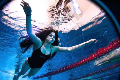 Electric blue, World, Aqua, Waist, Flash photography, Swimwear, Swimming pool, Underwater, Abdomen, Brassiere,