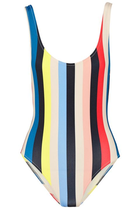 """<p><strong>Solid & Striped</strong> swimsuit, $112, <a href=""""https://www.net-a-porter.com/us/en/product/642361/solid_and_striped/the-anne-marie-striped-swimsuit"""" target=""""_blank"""">netaporter.com</a>. </p>"""