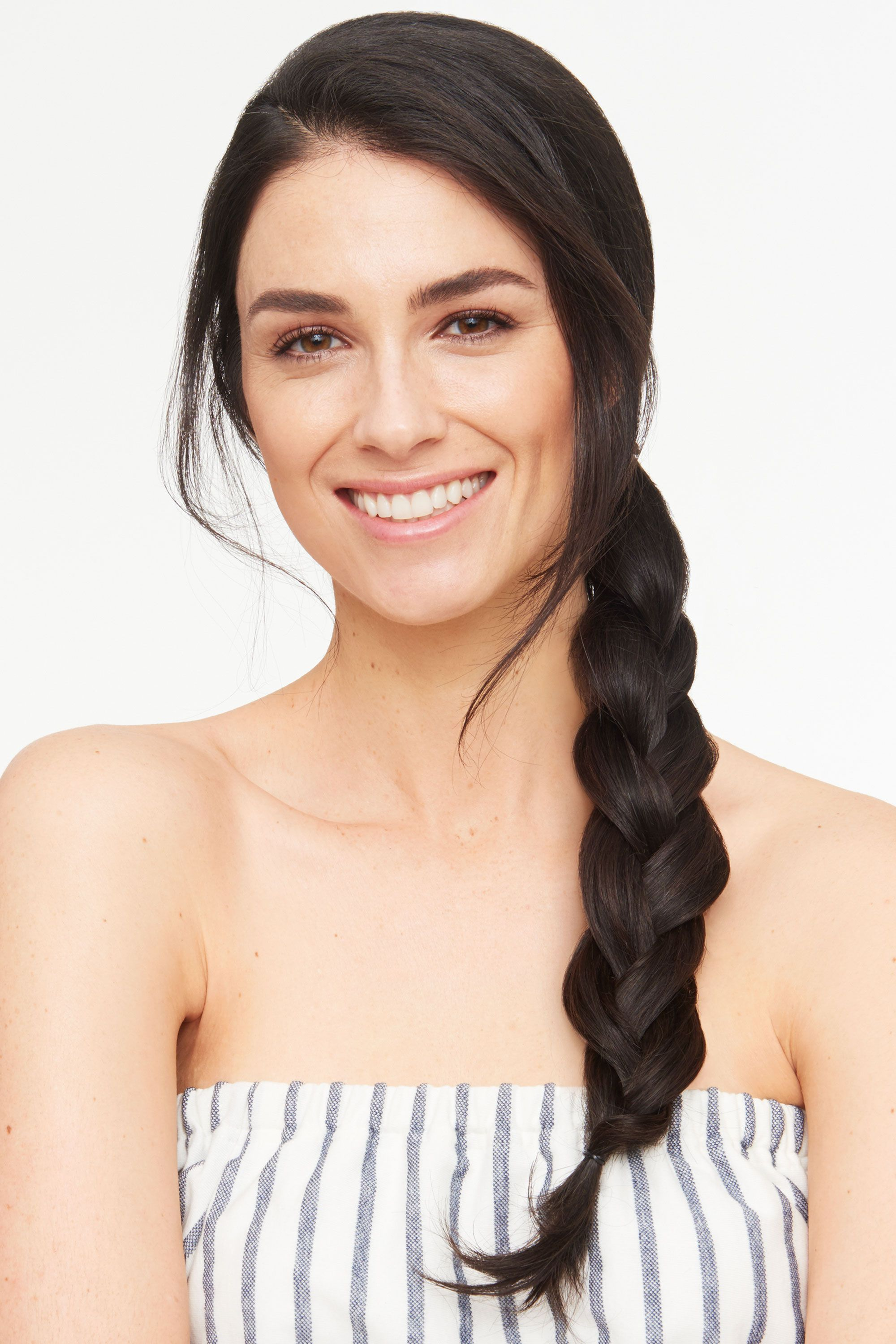 """<p>A trendy braided ponytail is a breeze to D.I.Y. Prep your hair with a texturizer like <a href=""""http://www.shophairstory.com/www/product/869693000137"""" target=""""_blank"""">Hairstory Undressed</a>, which adds grip and works great on wet or damp strands. Make a side ponytail, braid it down to the ends and secure with an elastic. Post-braiding, gently tug out the hair for a more modern effect. </p>"""
