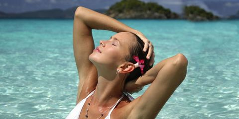 Lip, Fun, Hairstyle, Skin, Shoulder, Water, Leisure, Photograph, Summer, Jewellery,