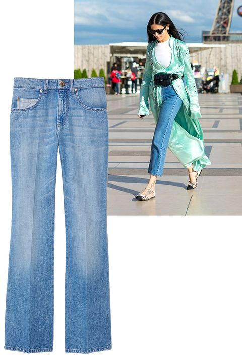"<p>A light and slightly cropped jean was the look <em>du jour.</em></p><p><em><br></em></p><p><em>Sonia Rykiel jeans, $410 (pre-order), <a href=""https://shop.harpersbazaar.com/designers/s/sonia-rykiel/super-high-waisted-flare-jeans-9632.html"" target=""_blank"">shopBAZAAR.com</a>. </em><em></em></p>"