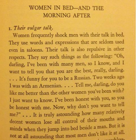 <p>Non si parla di sesso, baby… Thomas D. Horton nel 1945 ha pubblicato un libro dal titolo <em>Quello che agli uomini non piace delle donne</em>. In questo testo scrive che gli uomini non reagiscono bene dinanzi a quelle donne «poco decenti» che parlano di sesso. Per nostra fortuna oggi siamo esortate a parlare apertamente delle nostre esperienze sessuali perché – oh, che shock! – la comunicazione è molto importante per le persone.</p>