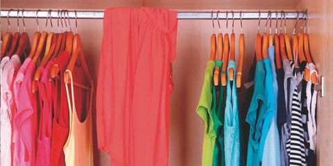Textile, Room, Clothes hanger, Orange, Teal, Aqua, Home accessories, Collection, Closet, Dry cleaning,
