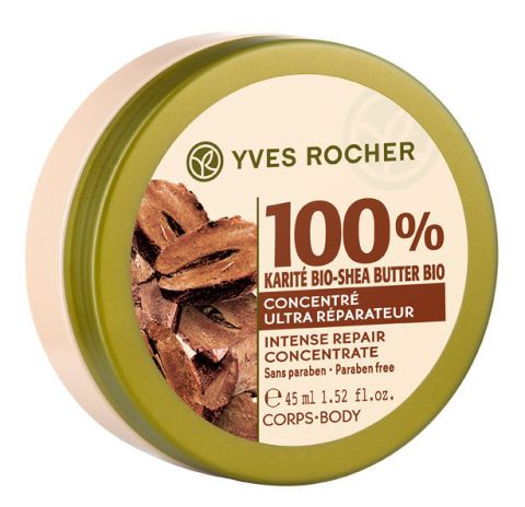 <p>100 % Karité Bio-shea Butter Bio Concentré Ultra Réparateur, <strong>Yves Rocher</strong> (€ 17)<br></p>