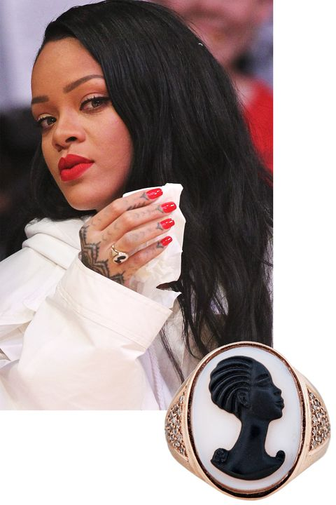 """<p>As the designer aptly explains, """"Rihanna is a queen, i'ts only natural that she should wear something ancient and regal like the cameo.""""</p><p><em> Jacquie Aiche ring, $3,125, <a href=""""http://jacquieaiche.com/products/carved-agate-robyn-cameo-ring"""" target=""""_blank"""">jacquieaiche.com</a>. </em></p>"""