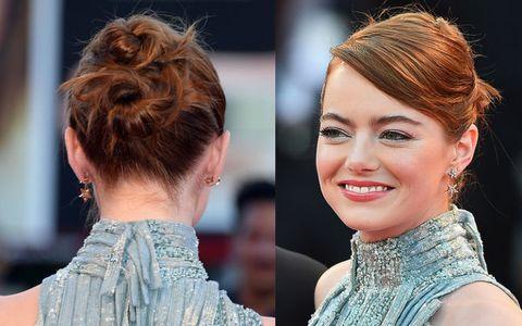 """<p>Il doppio chignon di <a href=""""http://www.gioia.it/magazine/personaggi/interviste/a1583/emma-stone-film-la-la-land/"""">Emma Stone</a>.</p>"""