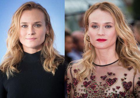 """<p>Stesso hairstyle per <a href=""""http://www.gioia.it/spettacolo/film/news/a1276/diane-kruger-joshua-jackson-si-sono-lasciati/"""">Diane Kruger</a> che affida il cambiamento solo al make up: a sinistra mood naturale, a destra ombretto shine, sottile riga di eyeliner e rossetto scarlatto.</p>"""
