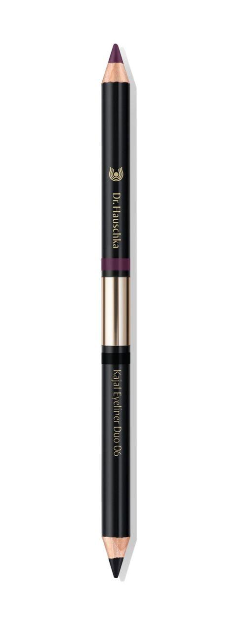 <p>Dr. Hauschka Kajal Eyeliner Duo N.o6 è nero da un lato, prugna dall'altro. Composto da cera di cotogna e burro di karité può essere applicato anche sul bordo interno della palpebra.</p>