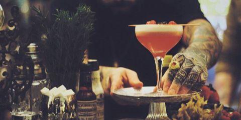 Drink, Alcoholic beverage, Alcohol, Barware, Tableware, Glass bottle, Bottle, Drinkware, Distilled beverage, Classic cocktail,