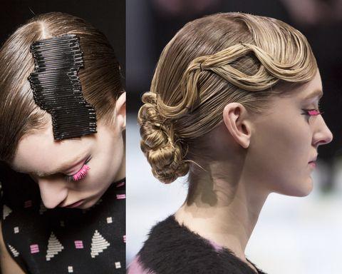 <p>Il raccolto couture di Emporio Armani è una combinazione raffinata di onde piatte effetto wet e di chignon a torchon. Il dettaglio che fa la differenza? Il fermaglio che imita un'onda, realizzato con una lunga fila di mollette.<span></span></p>