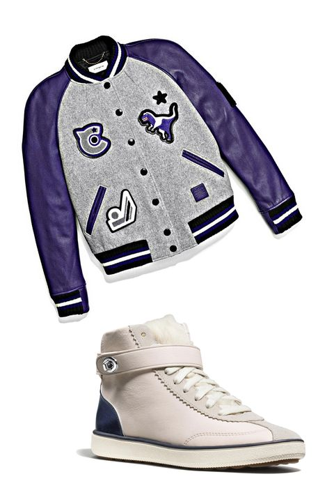 """<p>Wade into the trend by starting with leather accents and details. Varsity jackets with luxe sleeves and patchwork are a great sporty take on the style—as are colorblock&nbsp;sneakers with a fuzzy tongue. Both work with every casual look you can think of, from the slouchiest of sweats to the clingiest body-con jersey dresses. </p><p><br> </p><p><em data-redactor-tag=""""em"""">Coach 1941 Classic Varsity Jacket, $795, <a rel=""""noskim"""" href=""""http://www.coach.com/coach-designer-vest-classic-varsity-jacket/57016.html?dwvar_color=RED&amp;CID=D_B_HBZ_11881"""" target=""""_blank"""">coach.com</a>; Coach 1941 C213 Shearling Sneaker, $375, <a rel=""""noskim"""" href=""""http://www.coach.com/coach-designer-sneakers-c213-shearling-sneaker/Q8914.html?CID=D_B_HBZ_11840"""" target=""""_blank"""">coach.com</a></em><span class=""""redactor-invisible-space"""" data-verified=""""redactor"""" data-redactor-tag=""""span"""" data-redactor-class=""""redactor-invisible-space""""><em data-redactor-tag=""""em""""></em></span></p>"""