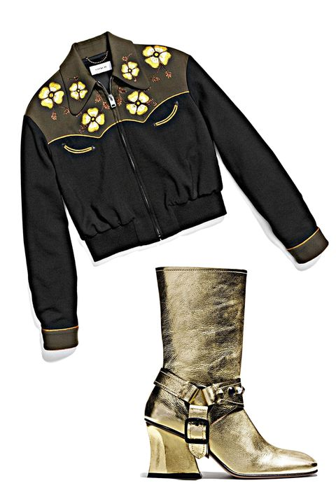 """<p>We've all got plenty of """"feature shoes"""" in our closets, so why not a feature boot? Take a casual jeans look up a notch with these sculptural gold harness boots. Hello, cowboy. </p><p><br> </p><p><em data-redactor-tag=""""em"""">Coach 1941 Western Blouson, $895, <a rel=""""noskim"""" href=""""http://www.coach.com/coach-designer-vest-western-blouson/56472.html?CID=D_B_HBZ_11841"""" target=""""_blank"""">coach.com</a>; Coach 1941 Harness Boot, $595, <a rel=""""noskim"""" href=""""http://www.coach.com/coach-designer-boots-harness-boot/Q8918.html?CID=D_B_HBZ_11842"""" target=""""_blank"""">coach.com</a></em><span class=""""redactor-invisible-space"""" data-verified=""""redactor"""" data-redactor-tag=""""span"""" data-redactor-class=""""redactor-invisible-space""""><em data-redactor-tag=""""em""""></em></span><span class=""""redactor-invisible-space"""" data-verified=""""redactor"""" data-redactor-tag=""""span"""" data-redactor-class=""""redactor-invisible-space""""></span><br></p>"""