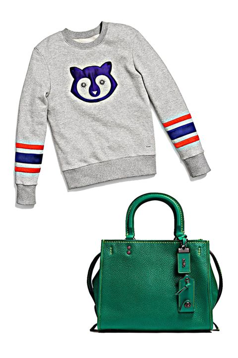 """<p>Think: time-honored silhouettes in collegiate-inspired solid colors, like this kelly-green satchel paired with a charming striped-sleeve sweatshirt—all of these pieces will work great with your favorite loafers and khakis! </p><p><br> </p><p><em data-redactor-tag=""""em"""">Coach 1941 Embellished Raccoon Sweatshirt, $395, <a rel=""""noskim"""" href=""""http://www.coach.com/coach-designer-tops-embellished-raccoon-sweatshirt/56478.html?CID=D_B_HBZ_11843"""" target=""""_blank"""">coach.com</a>; Coach 1941 Rogue Bag 25&nbsp;in Glovetanned Pebble Leather, $595, <a rel=""""noskim"""" href=""""http://www.coach.com/rogue-bag-25-in-glovetanned-pebble-leather/54536.html?dwvar_color=BPL4A&amp;CID=D_B_HBZ_11882"""" target=""""_blank"""">coach.com</a></em><span class=""""redactor-invisible-space"""" data-verified=""""redactor"""" data-redactor-tag=""""span"""" data-redactor-class=""""redactor-invisible-space""""><em data-redactor-tag=""""em""""></em></span><br></p>"""