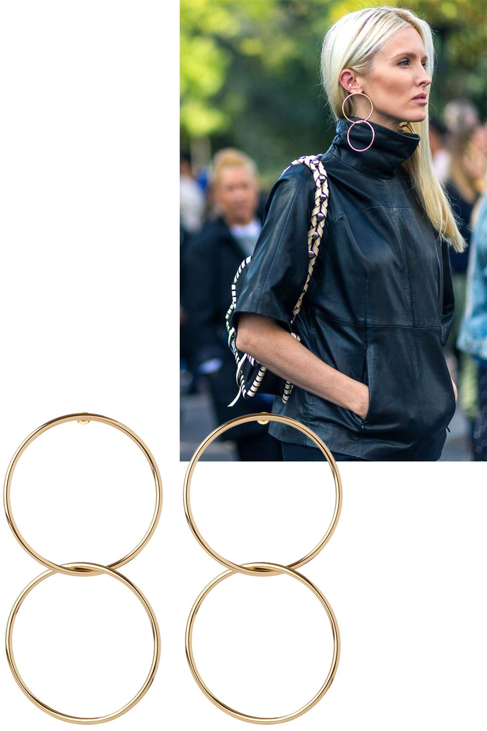 """<p>It's no secret that statement earrings are on-trend, andKate Davidson Hudson<span class=""""redactor-invisible-space"""">layered herswith a turtleneck.</span></p><p><em data-redactor-tag=""""em"""" data-verified=""""redactor"""">Jennifer Fisher earrings, $315 (pre-order), <strong data-redactor-tag=""""strong"""" data-verified=""""redactor""""><a href=""""https://shop.harpersbazaar.com/j/jennifer-fisher/interlocking-smooth-circle-earrings-9699.html"""" target=""""_blank"""">shopBAZAAR.com</a></strong>.</em></p>"""