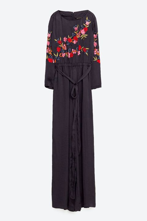 What to wear to a winter wedding. Zara embroidered autumn floral jumpsuit.