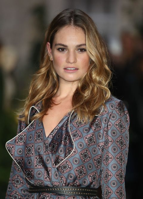 LONDON, ENGLAND - SEPTEMBER 19:  Lily James attends the Burberry show during London Fashion Week Spring/Summer collections 2016/2017 on September 19, 2016 in London, United Kingdom.  (Photo by Mike Marsland/Mike Marsland/WireImage)
