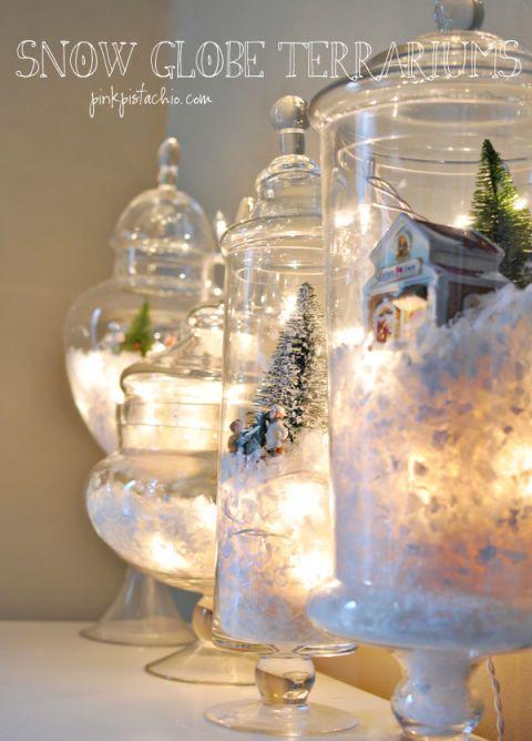 """<p>Ti basteranno 10 minuti per realizzare questi adorabili paesaggi innevati sottovetro. Procurati vasi di vetro di tutte le forme e misure (per esempio, i vasi vintage da caramelle o da farmacia) e riempili con neve finta (anche l'ovatta funziona benissimo), luci led, statuine (per esempio quelle da presepe, ma anche pupazzetti in plastica di ogni tipo), alberelli e casette: l'effetto sarà davvero suggestivo!</p><p>(<a href=""""http://www.pinkpistachio.com/let-it-snow/"""" target=""""_blank"""">Pink Pistachio</a>). </p>"""