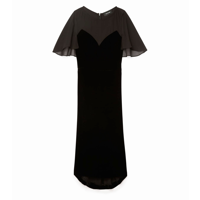 "<p>Se cerchi un look elegante per un party dovrebbe optare per un lungo vestito in velluto di Kooples.</p><p>Abito in velluto con dettaglio trasparente, <strong>Kooples</strong>.</p><p><a href=""http://www.thekooples.co.uk/velvet-dress-with-muslin-insets-1164463.html"" target=""_blank""><em></em></a></p>"