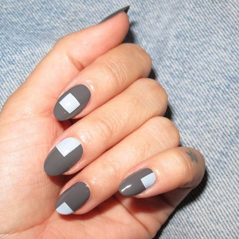 "<p>A lesson in geometry: oval shaped nails adorned with squares look chic. </p>  <p><a href=""https://www.instagram.com/p/BMG4yzaDHOK/?taken-by=nataliepavloskinails&amp;hl=en"" target=""_blank"" data-tracking-id=""recirc-text-link"">@nataliepavioskinails</a></p>"