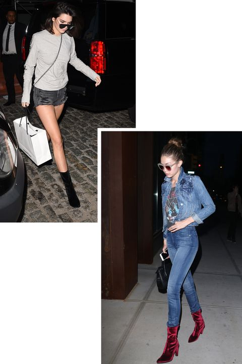 <p>Stuart Weitzman's over-the-knee boots have been a fashion girl favorite for years and this fall's velvet clinger booties proved a go-to for oft-photographed ladies like Kendall and Gigi. </p>