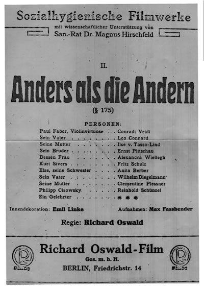 """<p><strong data-redactor-tag=""""strong"""" data-verified=""""redactor"""">Diversi dagli altri&nbsp;</strong>(in originale: <em data-redactor-tag=""""em"""" data-verified=""""redactor"""">Anders als die Andern</em>) è un film muto del 1919 di Richard Oswald: si tratta di un film di fondamentale importanza sia nella storia del movimento Lgbt.</p><p>Il film accusa il tristemente famoso paragrafo 175 della legge tedesca che considerava l'omosessualità un vero e proprio crimine, paragrafo in base al quale molti omosessuali finirono nei campi di concentramento sotto Hitler e che, anche dopo la caduta del Führer, ha continuato a essere in vigore.</p><p>Un film muto che parte dall'amore tra il violinista Paul Korner e un suo ammiratore, Kurt Sivers. Un amore che non potrà finire bene e che dovrà affrontare anche l'isolamento sociale da parte di parenti e amici.</p>"""