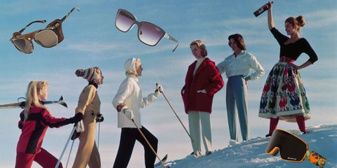 Eyewear, Vision care, Winter, People in nature, Snow, Playing in the snow, Sunglasses, Ice cap, Glacial landform, Ski pole,