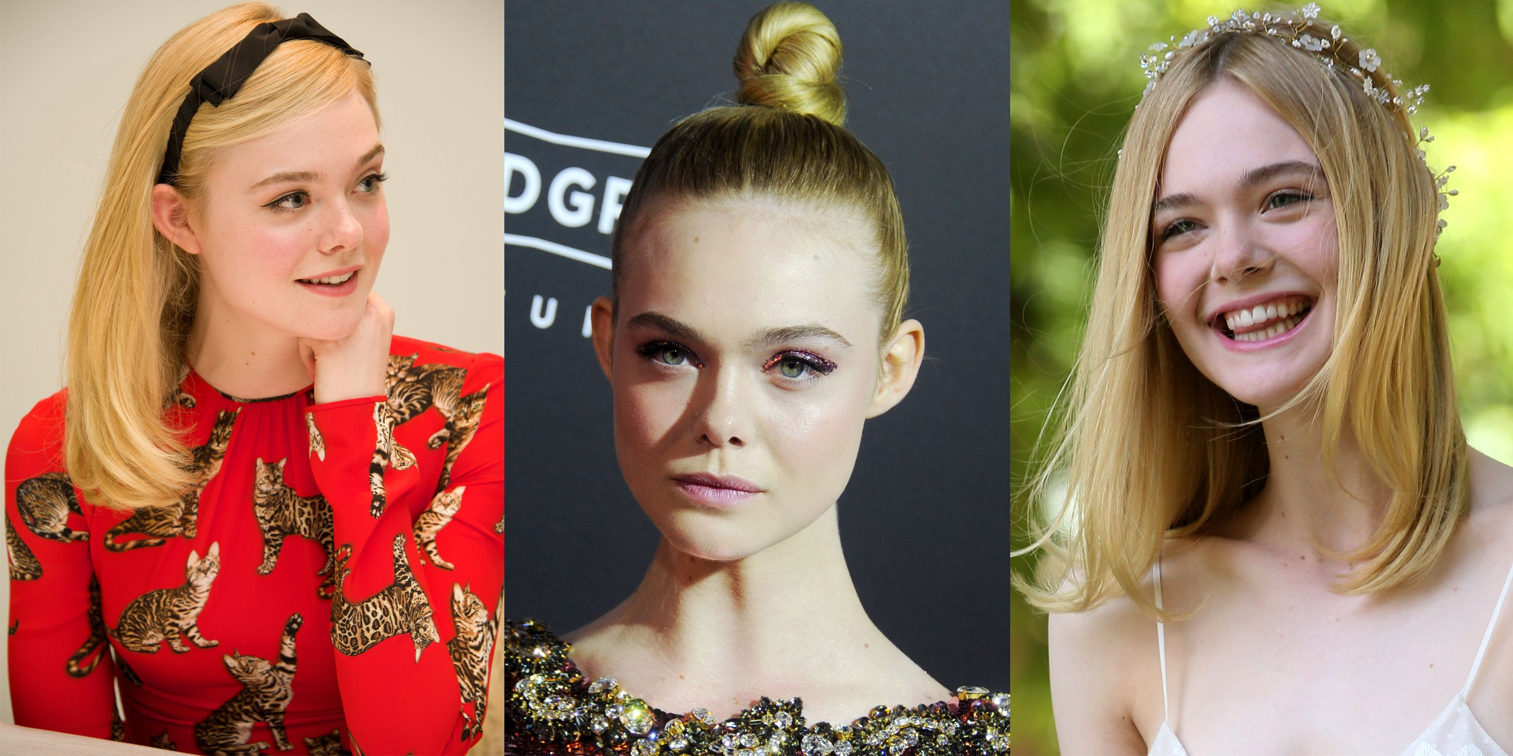 <p>Elle Fanning doesn't allow herself to be boxed in to just one look when it comes to hair and makeup. Sweet and prim?  She nails it. Tough and metallic? She's got that, too. But our favorite Fanning look is when she wholly embraces the fact that she looks like a fairy princess, ethereal headband and all.</p>
