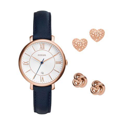 Tendenze moda 2017: ecco l'orologio blu e oro con orecchini in pendant di Fossil