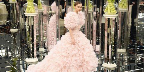 Dress, Bridal clothing, Gown, Pink, Petal, Wedding dress, Formal wear, Bride, Fashion, Victorian fashion,
