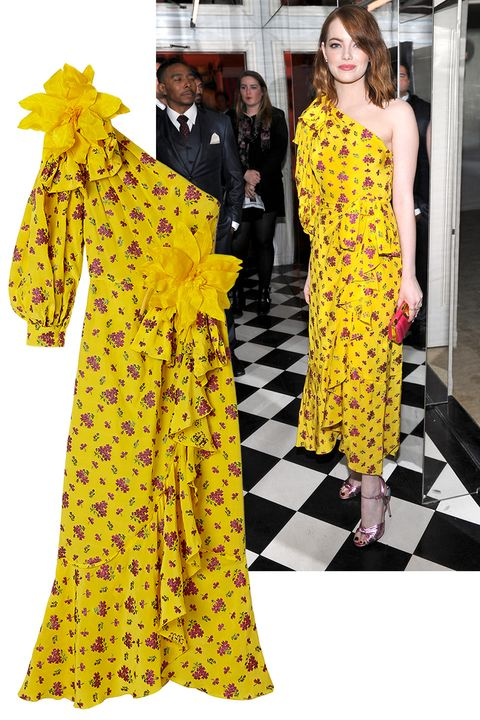 "<p>Emma Stone</p><p><em data-verified=""redactor"" data-redactor-tag=""em"">Gucci dress, $</em>5,890, <a href=""https://shop.harpersbazaar.com/designers/gucci/one-shoulder-floral-dress-11815.html"" data-tracking-id=""recirc-text-link"">shopBAZAAR.com</a>.&nbsp;</p>"