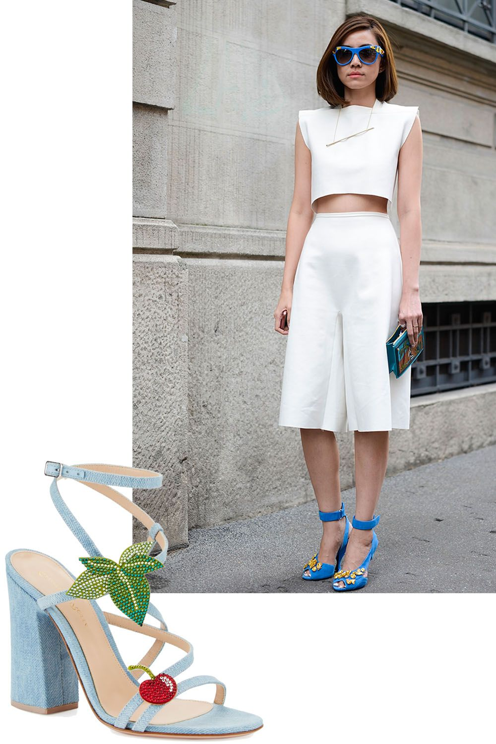 "<p>Instant update to&nbsp&#x3B;your spring uniform.&nbsp&#x3B;</p><p><em data-verified=""redactor"" data-redactor-tag=""em"">Gianvito Rossi sandal, $1,265, <a href=""http://www.neimanmarcus.com/Gianvito-Rossi-Cherry-Denim-Strappy-100mm-Sandal-Blue-Shoes/prod195780211_cat56520750__/p.prod?icid=home0b_SpringShoes_020717&amp&#x3B;searchType=EndecaDrivenCat&amp&#x3B;rte=%252Fcategory.jsp%253FitemId%253Dcat56520750%2526pageSize%253D117%2526No%253D0%2526refinements%253D&amp&#x3B;eItemId=prod195780211&amp&#x3B;cmCat=product"" data-tracking-id=""recirc-text-link"">neimanmarcus.com</a>.</em><br></p>"