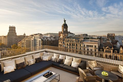 """<p><span>With incredible 360-degree views of Barcelona, the Mandarin Oriental's rooftop, Terrat, is a magnificent setting for a swim in the sleek pool, or an alfresco lunch. The hotel occupies a former bank premises on the city's famous Passeig de Gràcia, with its stylish boutiques and striking Gaudí architecture. It has a space-age spa with a herbal steam-room and a 12-metre pool, and a two-Michelin-starred restaurant, Moments, that serves Catalan classics. Best of all is the central courtyard planted with mimosa-trees,</span><span>which is as discreet and lovely as a secret garden.</span></p><p><i data-redactor-tag=""""i"""">From about £385 a room a night (<a href=""""http://www.mandarinoriental.com"""" target=""""_blank"""" data-tracking-id=""""recirc-text-link"""">mandarinoriental.com</a>).</i></p>"""