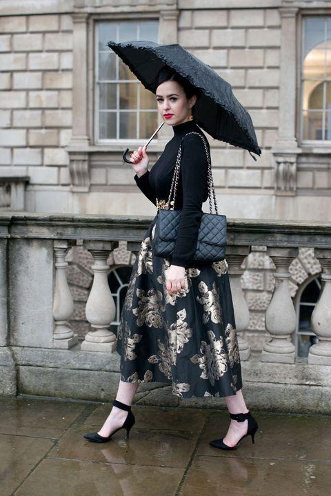 ombrello look street style pioggia glam