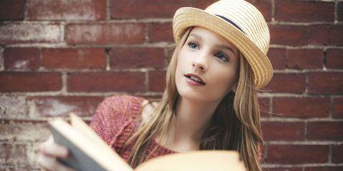 Clothing, Nose, Lip, Hat, Mouth, Brick, Brickwork, Sun hat, Headgear, Beauty,