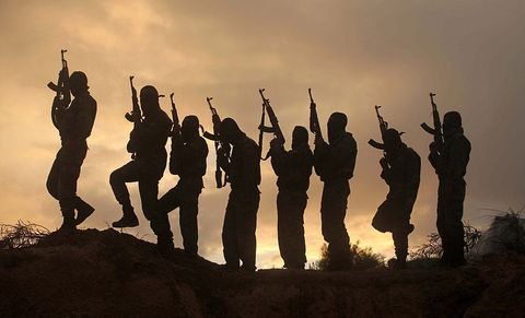 People in nature, Silhouette, Sky, Fun, Backlighting, Soldier, Photography, Stock photography, Gesture, Crowd,