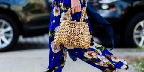 Blue, Bag, Costume accessory, Basket, Street fashion, Wicker, Shoulder bag, Storage basket, Costume hat, Craft,