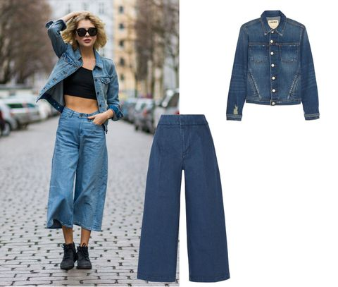 Total denim con jeans crop e giubbotto