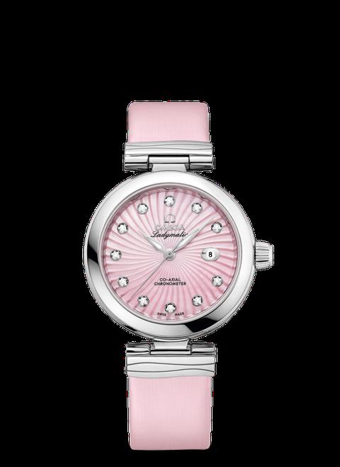 Orologi da donna con cinturino in pelle estate 2017 in rosa per Omega