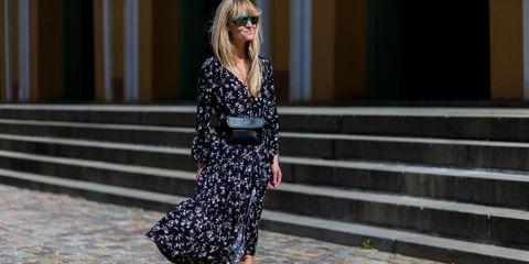 Clothing, Dress, Human leg, Style, Street fashion, Sunglasses, Pattern, Fashion, Beauty, One-piece garment,