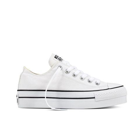 Sneakers estive da donna in tela bianca con zeppa di Converse