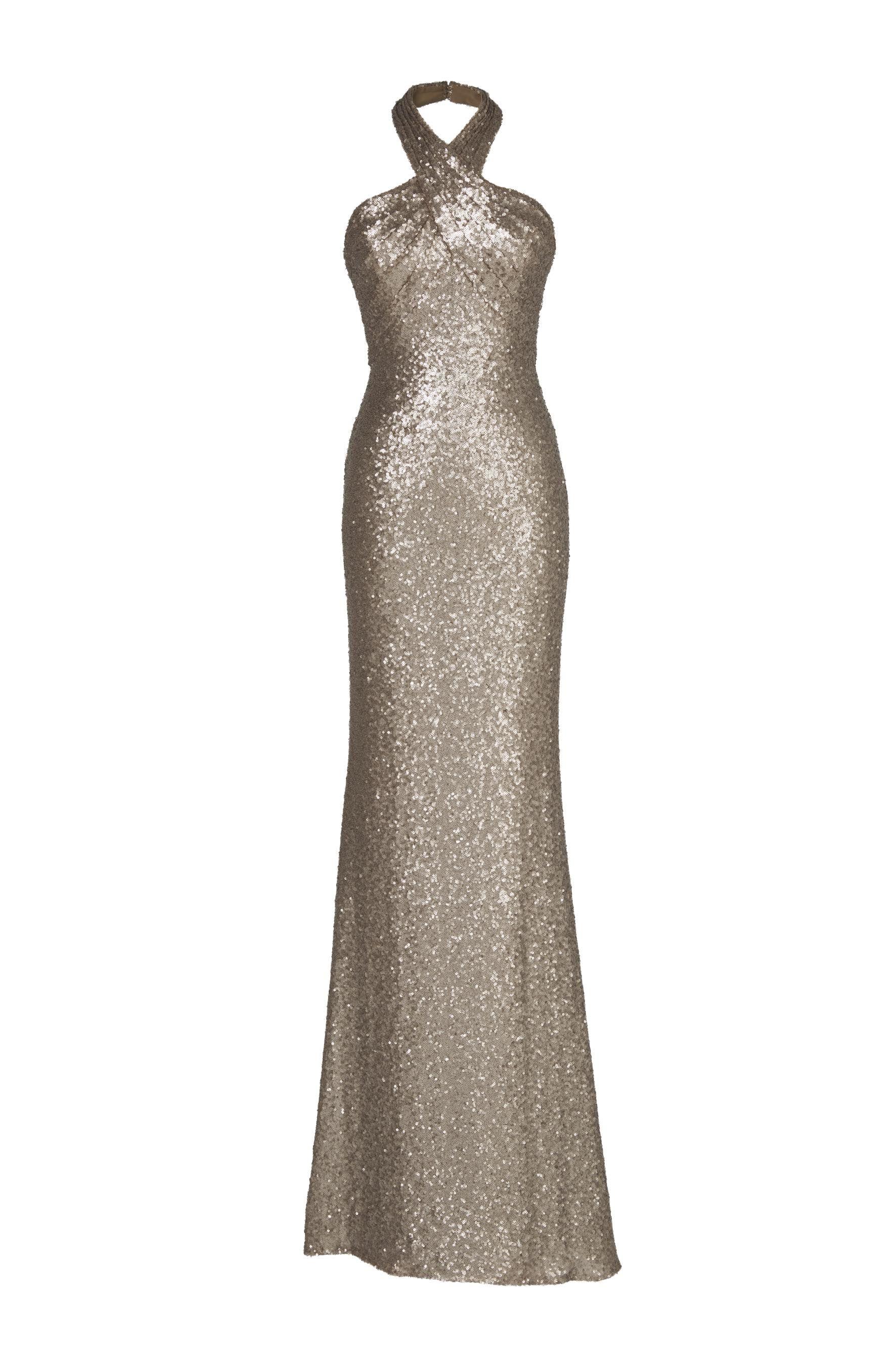 Vestiti da sera con schiena scoperta come il modello in oro di Pronovias
