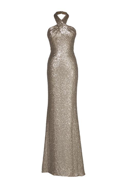 557edf5a03b3 Vestiti da sera con schiena scoperta come il modello in oro di Pronovias